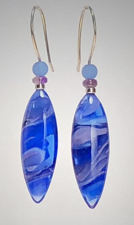 dusky blue art glass earrings