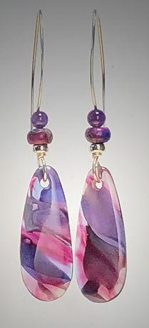 glass earring raspberry purple drop 57.j