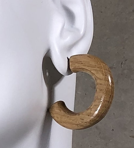 Chunky Wine Barrel Hoop Earrings on Sterling Silver Posts