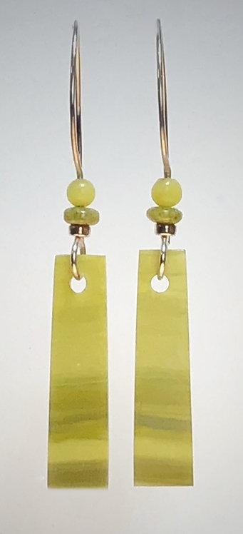 hand cut chartreuse serpentine gemstone earrings