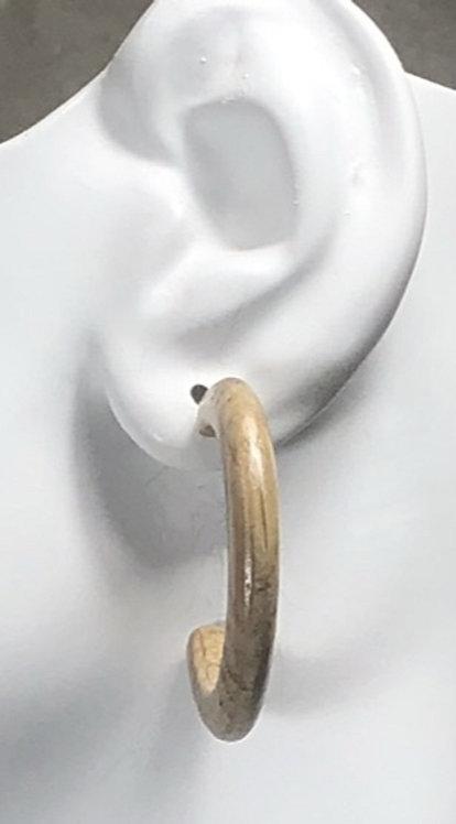 Thin Wine Barrel Oak Hoop Earrings on Sterling Silver Posts