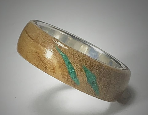 olive wood & malachite on sterling band (size 6-1/2)