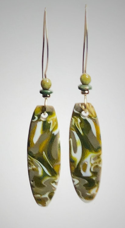 olive & ivory art glass earrings