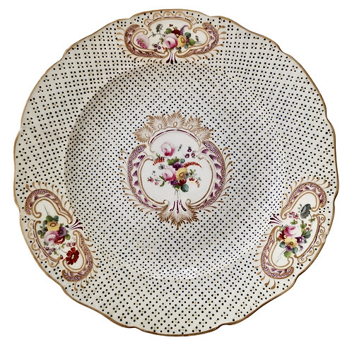 Coalport plate, moulded surface and flowers, Regency ca 1820 A/F