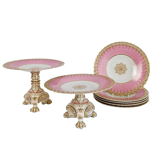 Pink dessert service, spectacular claw-footed tazzas, 19th C
