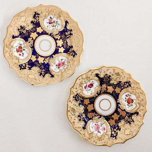 Set of 2 dessert plates, cobalt blue and gilt, Ridgway ca 1820