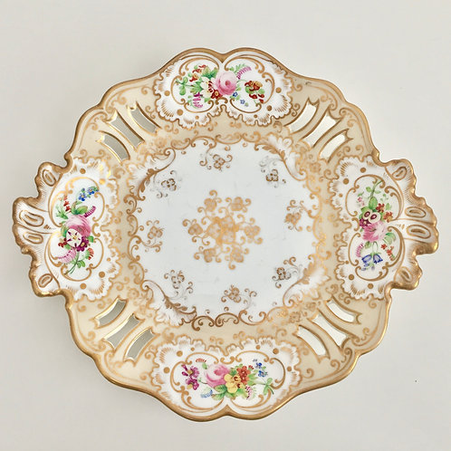 Dessert plate, pierced with hand painted flowers, Ridgway ca 1850