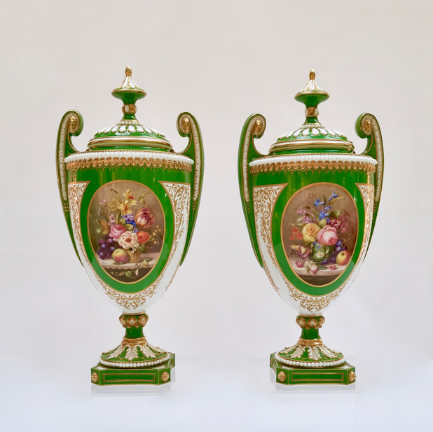 Pair of Royal Worcester vases, William Hawkins 1907