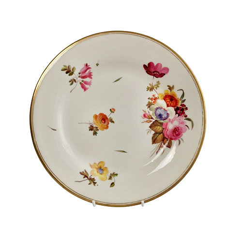 Chamberlains Worcester plate, white with flowers, ca 1846