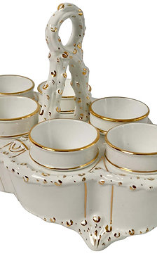 Carltonware egg cruet serving six, white and gilt, Victorian ca 1890