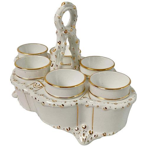 Carltonware egg cruet serving six, white and gilt, Victorian ca 1890