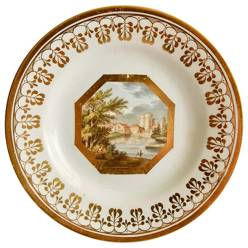 John Rose Coalport plate, named West Gate Canterbury, Thomas Baxter, ca 1810