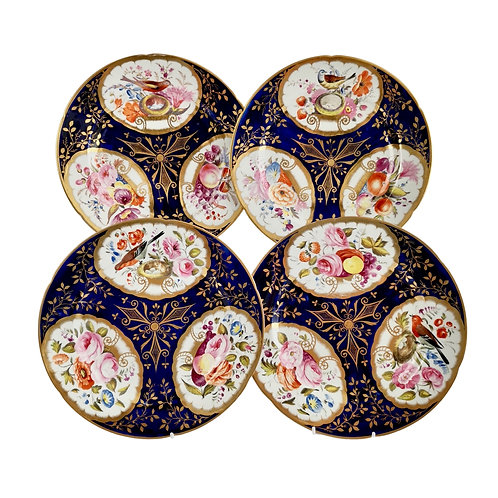 Set of 4 John Rose Coalport plates, cobalt blue, birds and flowers, 1805-1810