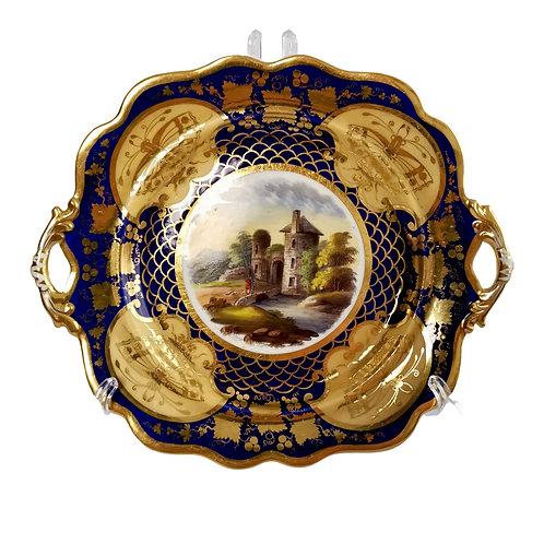 Ridgway twin-handled plate, cobalt blue, gilt and landscape, ca 1825
