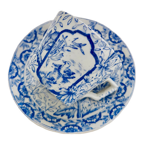 Demitasse cup, Aesthetic Period birds blue and white, 1870s