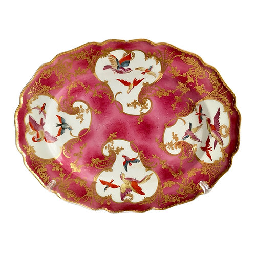 Chelsea serving platter, puce with Sèvres style birds and gilt, ca 1762