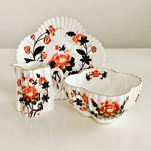 Comport, jug and bowl, Japan Oriental Flowers, Wileman 1882