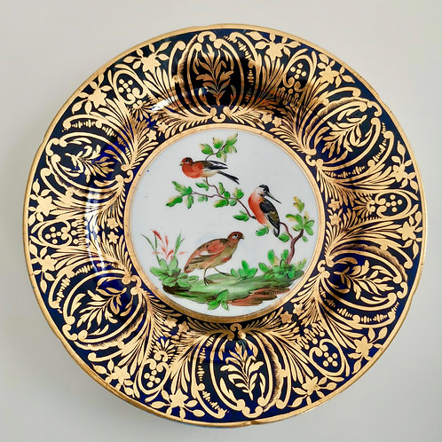 Coalport plate, London decorated with birds and gilt, ca 1805