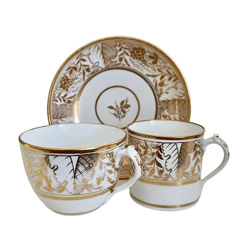 Miles Mason true trio, provenance, gilt Regency pattern, ca 1810