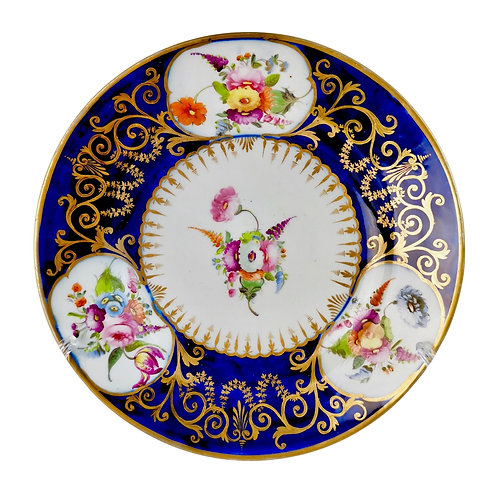 Coalport John Rose plate, cobalt blue with flowers and gilt, 1805-1810