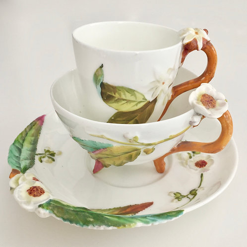 Extremely rare tea/coffee cup trio, Brownfield 1875