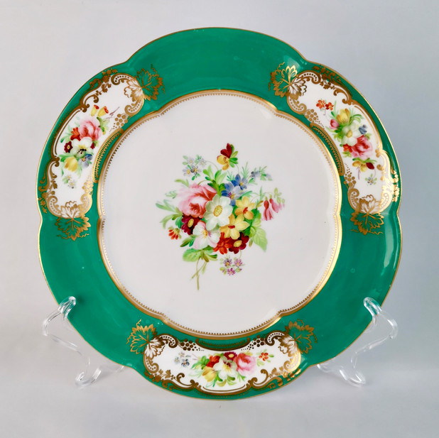 Coalport plate, teal green and flowers, ca 1860