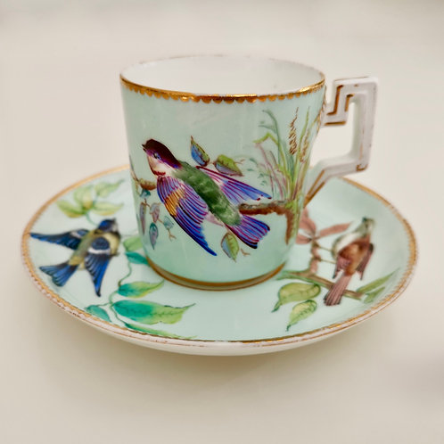 Coalport coffeecup and saucer, hand painted birds on duck egg blue, ca 1870