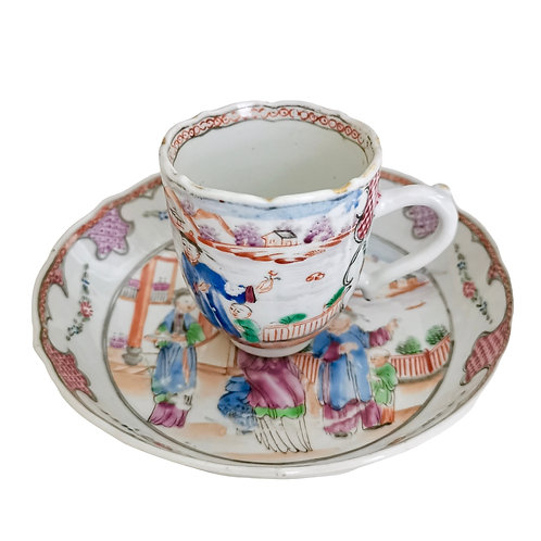 Chinese Export cup and saucer, London decorated Qianlong 1760-1780