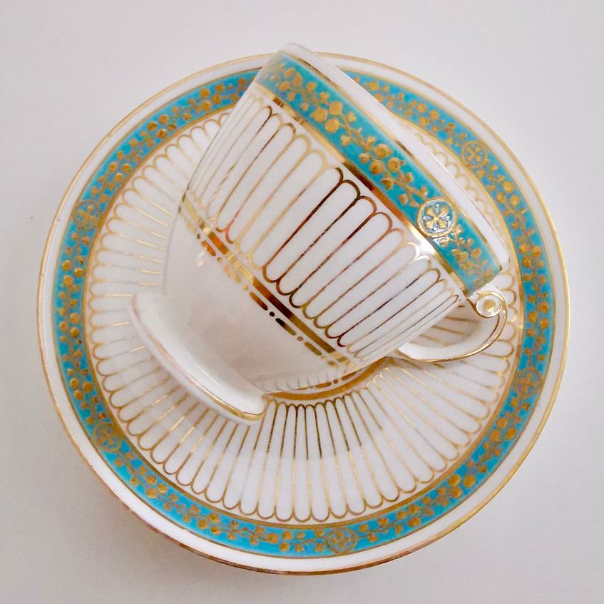 Copeland coffee cup and saucer, ca 1860