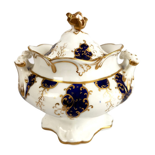 Samuel Alcock sucrier, cobalt blue and gilt, Rococo Revival ca 1840