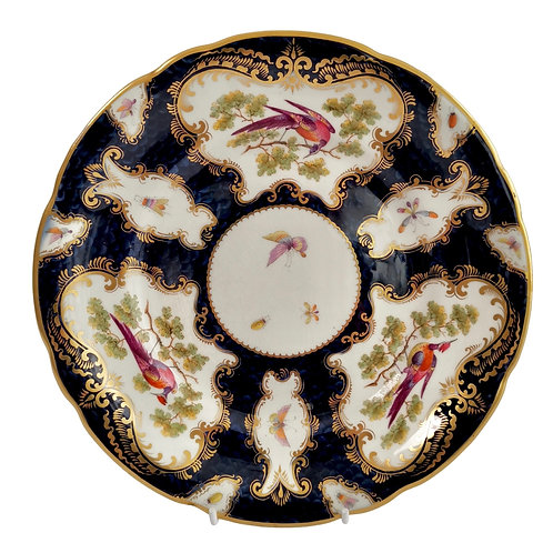 Grainger Worcester plate, blue scale, Sèvres birds and insects, ca 1880 (2)