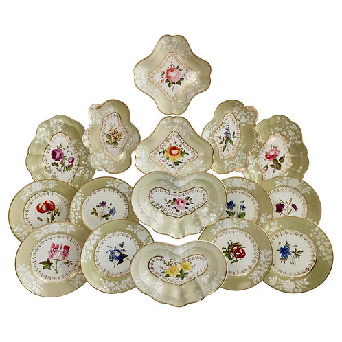 Chamberlains Worcester Union dessert service, sage green with flowers, 1816-1820