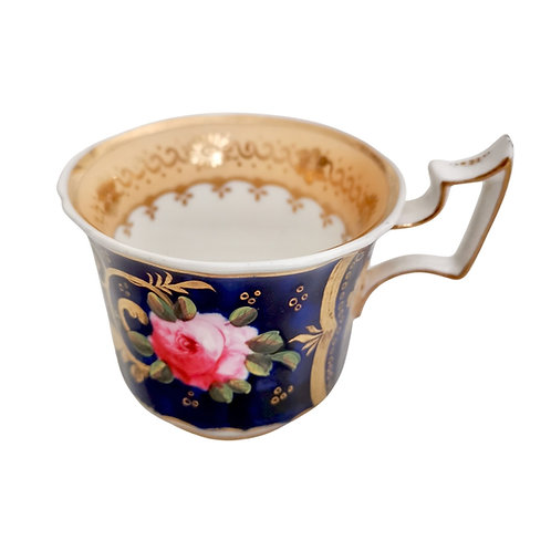 Orphaned coffee cup attr. Yates, cobalt blue, pink roses, ca 1825 (2)