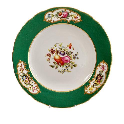 Copeland Spode plate, green Sèvres style, Thomas Goode, 1924