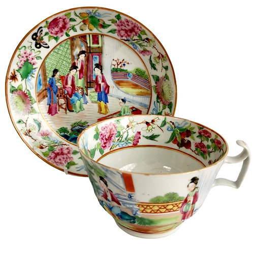Chinese Export breakfast cup, Canton famille verte with figures, ca 1880 (1)
