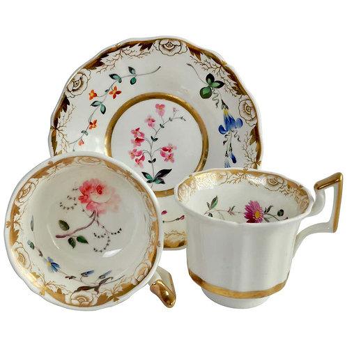 Staffordshire true trio, white with flowers, 1825-1830
