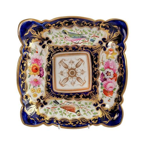 Coalport square dish, patt. 759 birds and flowers, ca 1815 A/F