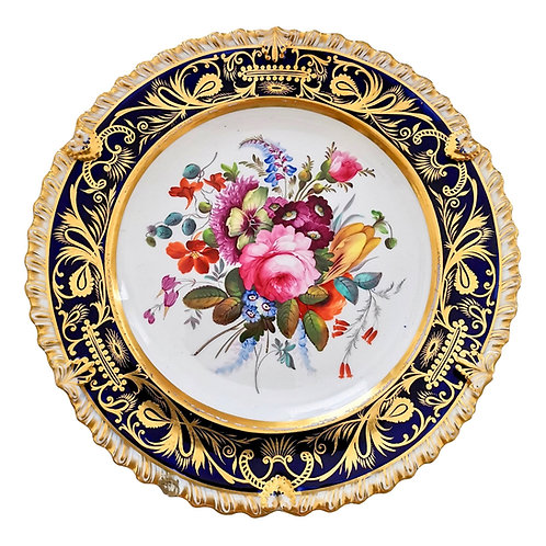 Coalport plate, cobalt blue and spectacular flowers, 1820-1825