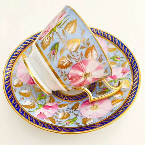 Coffee cup and saucer, attr. New Hall ca 1815