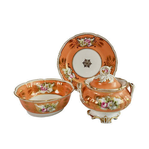German sucrier set, orange with flowers, Rococo Revival ca 1860