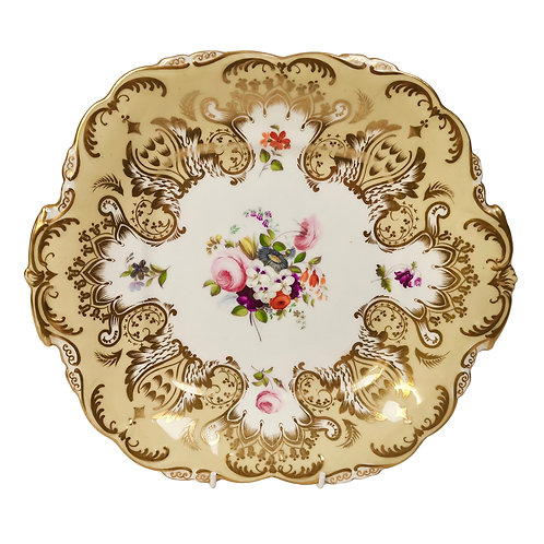 Coalport plate, Adelaide shape, flowers by Thomas Dixon, 1837
