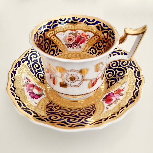 Ridgway coffee cup and saucer, cobalt blue, gilt and flowers, 1825