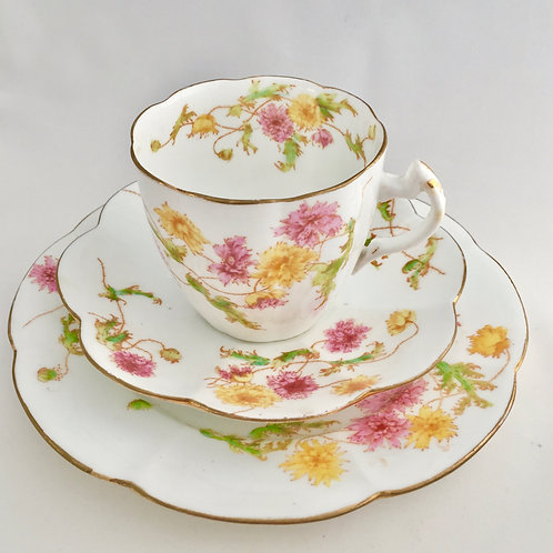 Teacup trio, polychrome Poppies on Lily shape, Wileman 1894