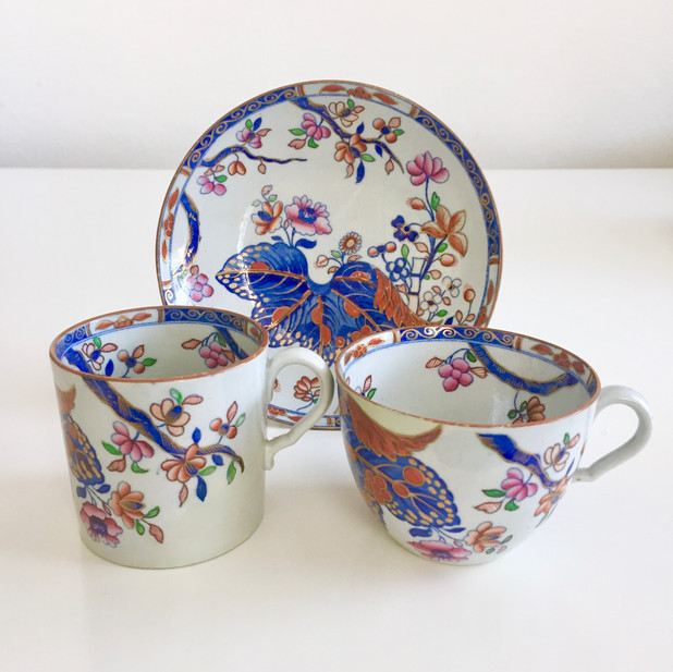 Spode stone china trio with cabbage leaf pattern