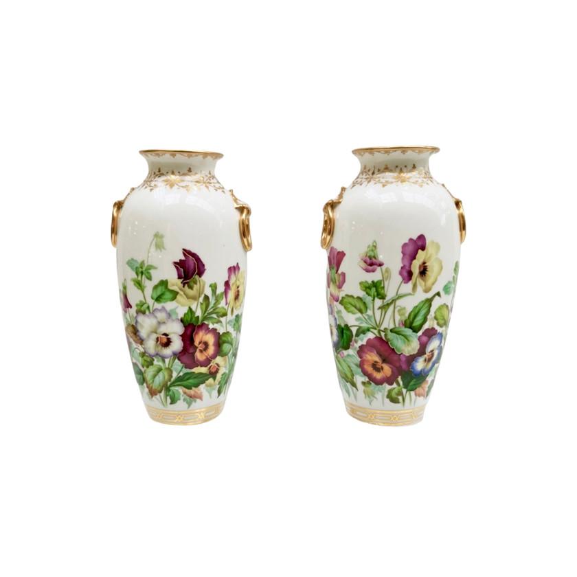 Minton vases with pansies