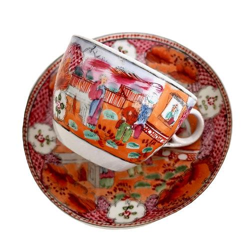 New Hall teacup, Boy in the Window patt. 425, ca 1810