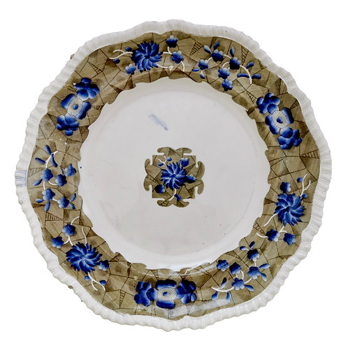 Spode plate, cracked ice and prunus, gadrooned, 1824-1833
