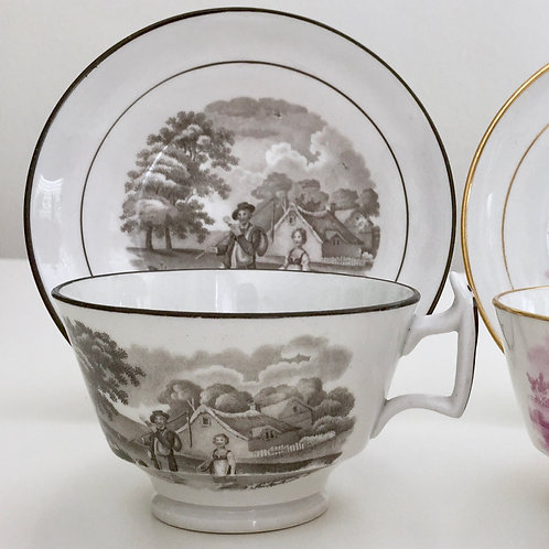 Teacup with bat printed rural scene, Ridgway ca 1815
