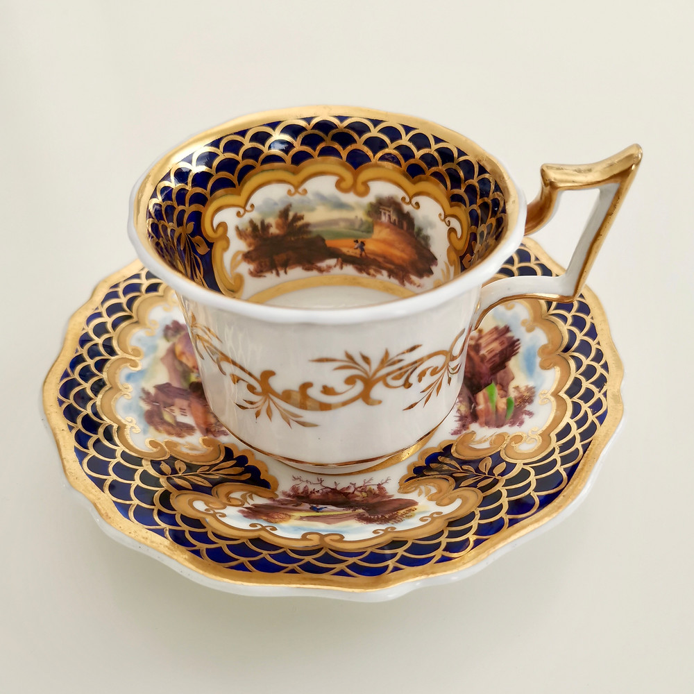 Ridgway coffee cup with landscapes, ca 1825