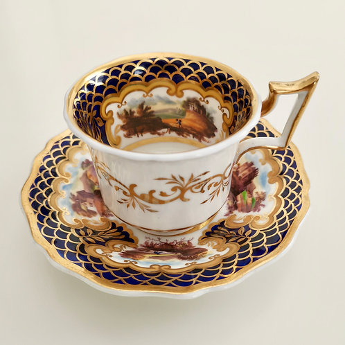Rare Ridgway coffee cup, cobalt blue and sublime landscapes patt 2/1132, ca 1825